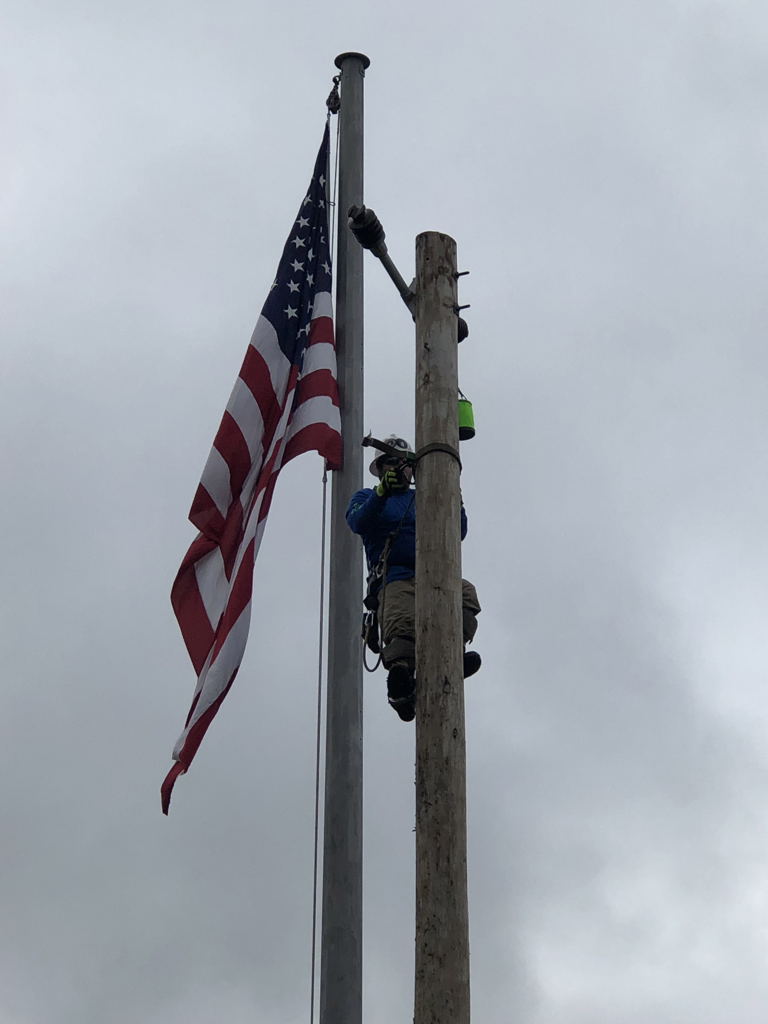 IBEW Local 1393's very own, Trent McQuay, Colton Baird, Drew Batty, and  Clay Willis competing at the International Lineman's Rodeo in Overland Park  Kansas.